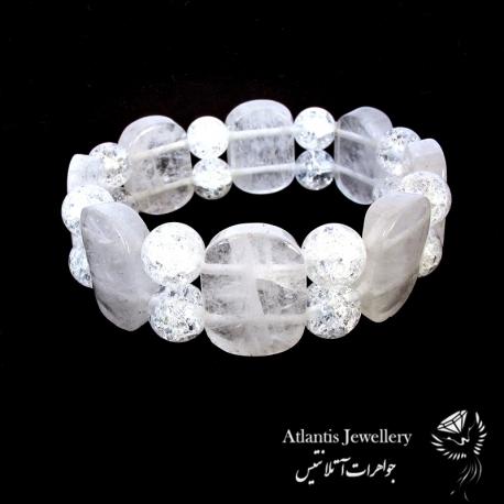 دستبندمهره پهن سنگ کریستال کوارتز crystal quartz