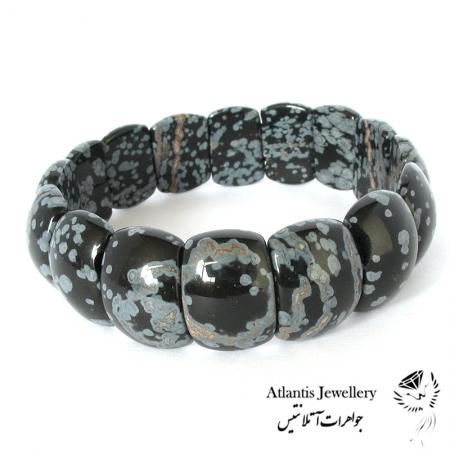 دستبند پهن سنگ ابسیدان لکه برفی Snowflake Obsidian