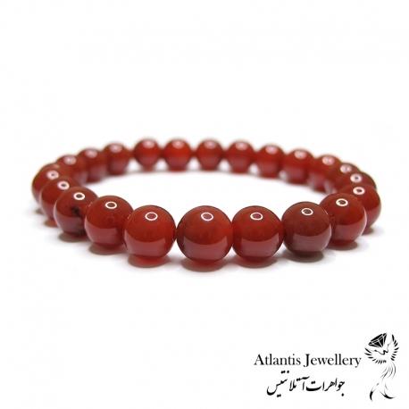 دستبند مهره ای سنگ عقیق قرمز Red Agate