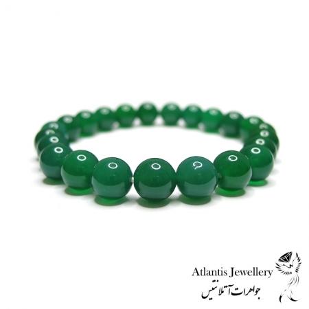 دستبند مهره ای سنگ عقیق سبز Green Agate