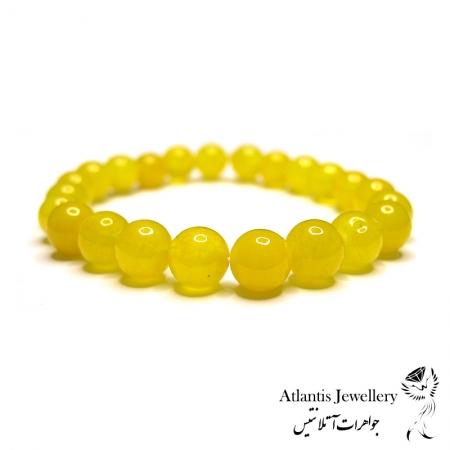 دستبند مهره ای  سنگ جید زرد yellow jade