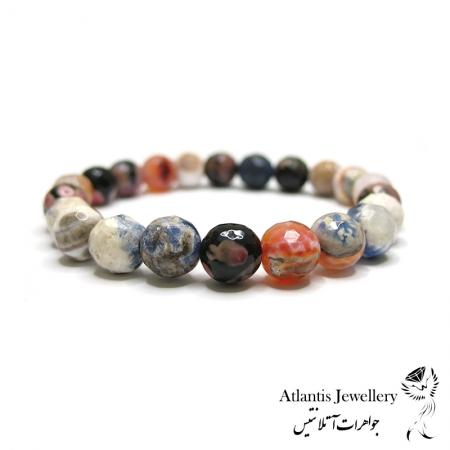 دستبند مهره ای  سنگ جید چند رنگ تراش jade