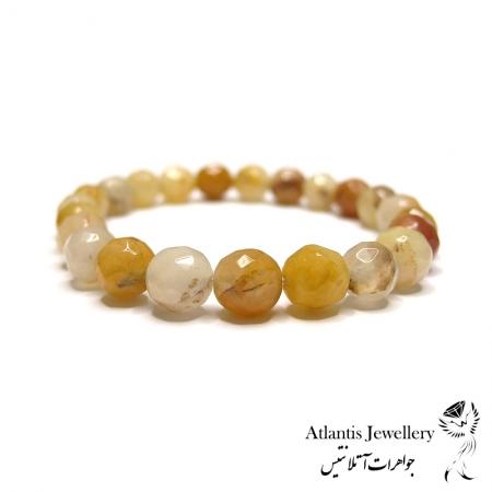 دستبند مهره ای  سنگ جید زرد تراش yellow jade