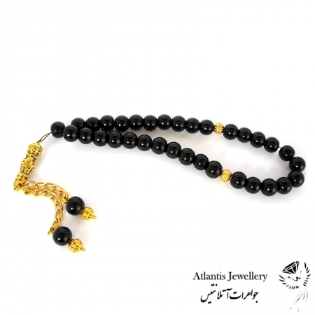 تسبیح 33 مهره سنگ عقیق سیاه  Black agate