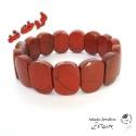 دستبند پهن سنگ جاسپر قرمز Red jasper