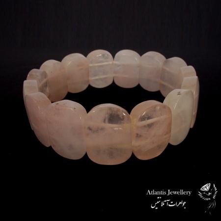 دستبند پهن سنگ رز کوارتز Rose quartz