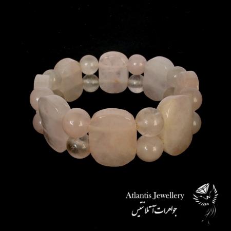 دستبند مهره پهن سنگ رز کوارتز Rose quartz