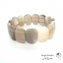 دستبند پهن سنگ عقیق سلیمانی botswana agate