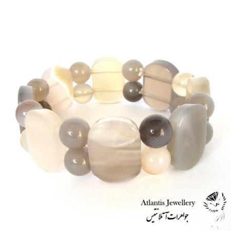 دستبند مهره پهن سنگ عقیق سلیمانی botswana agate