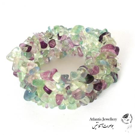 دستبند پهن سنگ فلوئوریت fluorite