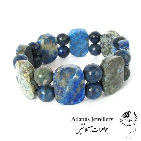 دستبند مهره پهن سنگ لاجورد Lapis Lazuli