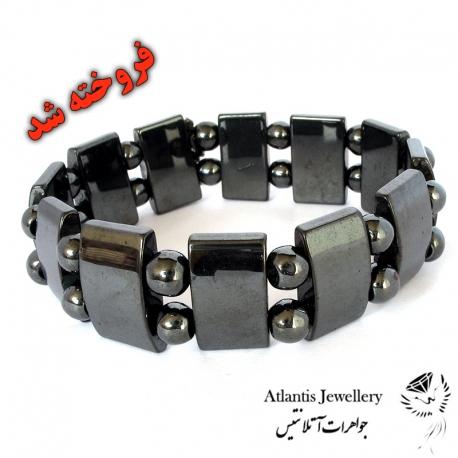 دستبند مهره پهن سنگ حدید Hematite