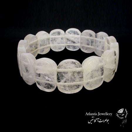 دستبند پهن سنگ کریستال کوارتز crystal quartz